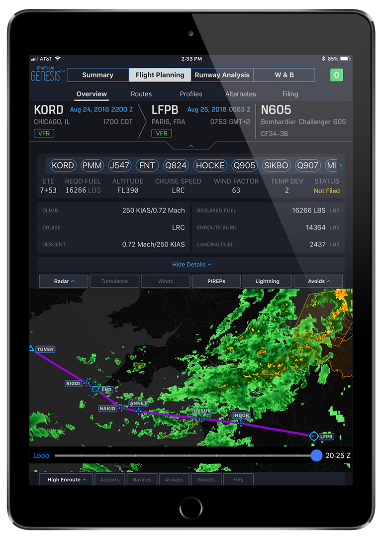 i Pre Flight Genesis App Flight Planning Screen