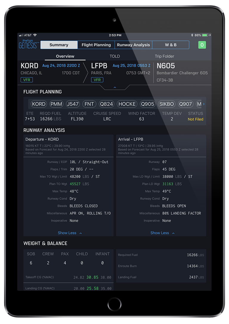 i Pre Flight Genesis App Summary Screen